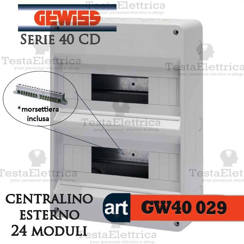 Gewiss gw40029 centralino con morsettiera 24 moduli per for Centralino esterno 4 moduli