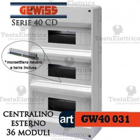 Gewiss gw40031 centralino con morsettiera 36 moduli per for Centralino esterno 4 moduli