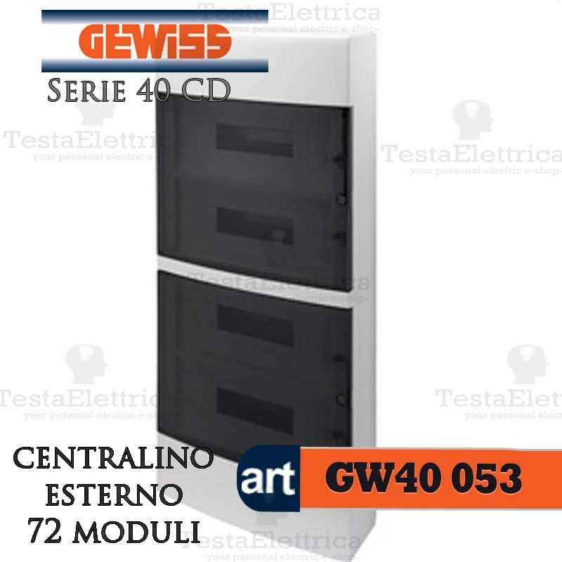 gewiss gw40053 centralino esterno con portello 72 moduli