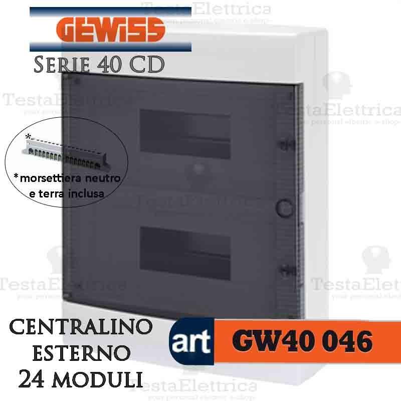 Gewiss gw40046 centralino esterno con portello e for Centralino esterno 4 moduli