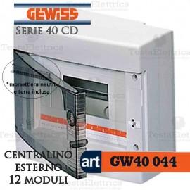 Centralino 12 moduli con morsettiera per quadri elettrici esterni 40044 Gewiss