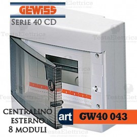 Centralino 8 moduli per quadri elettrici esterni 40043 Gewiss