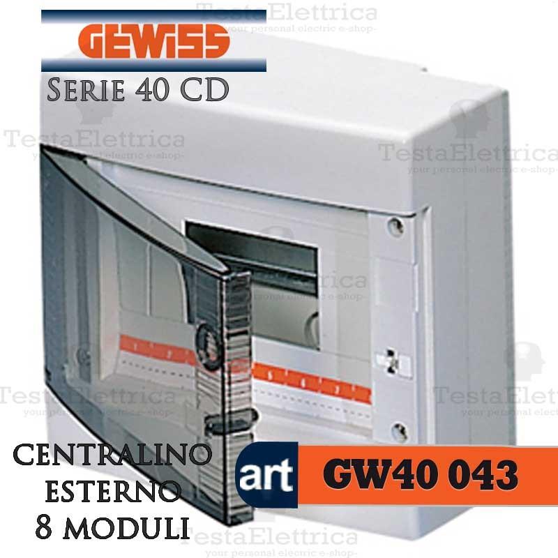 Armadio Elettrico Per Esterno.Gewiss Gw40043 Centralino Esterno Con Portello 8 Moduli Per Quadro Elettrico Esterno