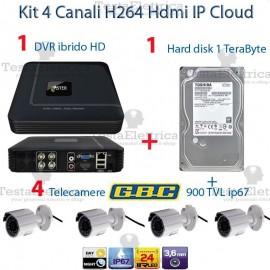Kit Videosorveglianza a 4 telecamere GBC