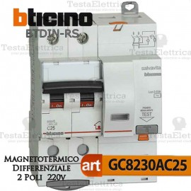 Interruttore Magnetotermico Differenziale 2P 25A  220V Bticino