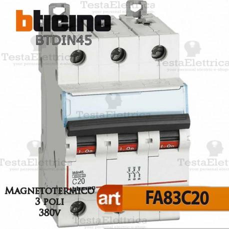 Interruttore magnetotermico 3P C20A  380V Bticino