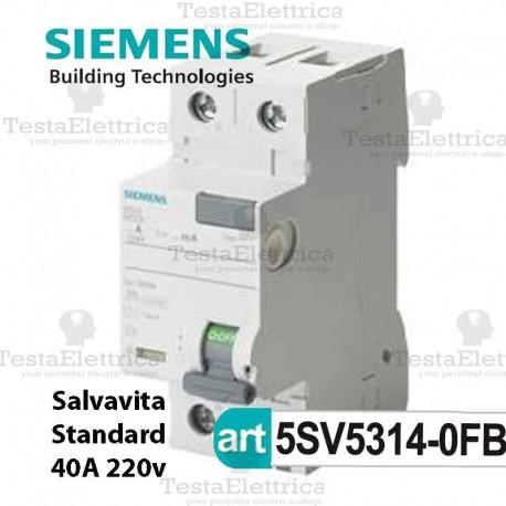 Interruttore Differenziale Salvavita 40A  220V Siemens