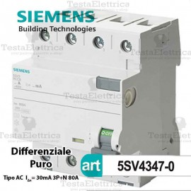 Interruttore Differenziale Salvavita 80A  400V Siemens