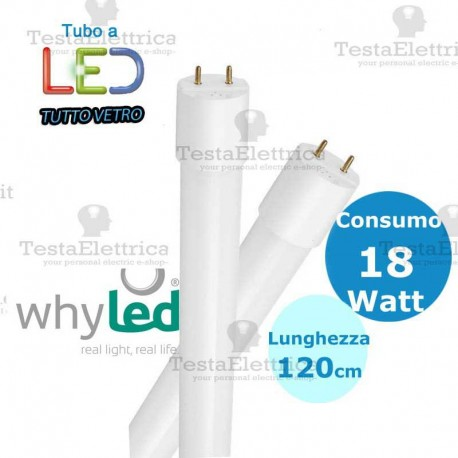 Tubo a led 120 cm T8 Tutto Vetro 18 watt Whyled by sice