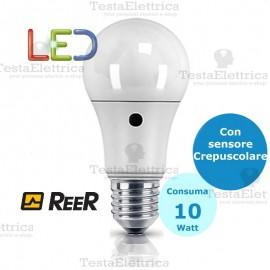 Lampadina a led con sensore crepuscolare goccia E27 10 Watt Reer
