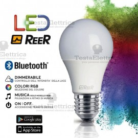 Lampadina a led  con Bluetooth RGB 6W E27 ReeR