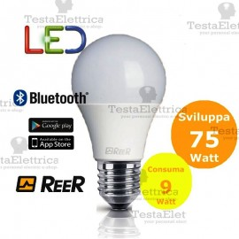 Lampadina a led Bluetooth 9W 3000K E27 ReeR