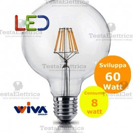 Lampadina a Wireled Globo 8 Watt E27 trasparente Wiva