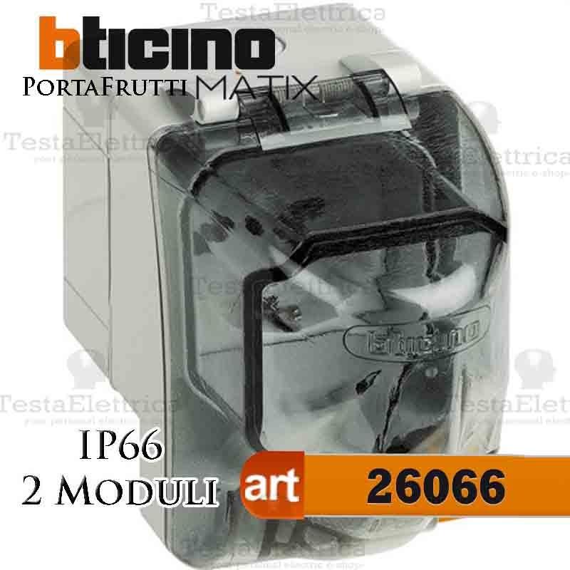 Bticino 26606 idrobox plus cassetta esterna con portello - Prese elettriche esterne ...