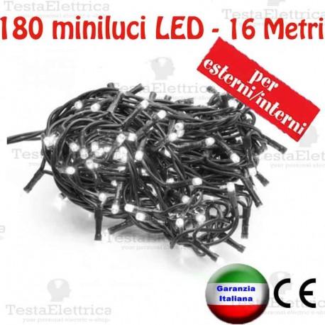 Serie da 180 minilucciole LED Bianco ghiaccio esterno/interno cavo 16 Mt  RosaChristmas