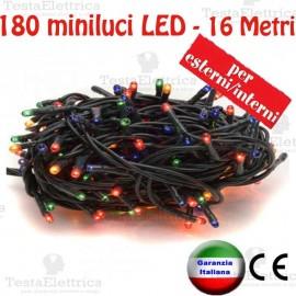 Serie da 180 minilucciole LED Multicolore esterno/interno cavo 16 Mt RosaChristmas