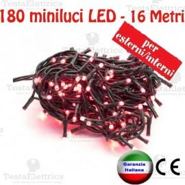 Serie da 180 minilucciole LED Rossa esterno/interno cavo 16 Mt RosaChristmas