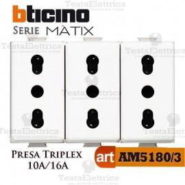 Presa Triplex bipasso 2P+T 10/16A Bticino Matix