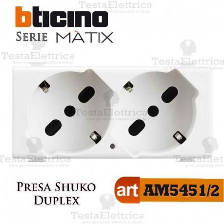 Presa Duplex Schuko 2P+T 10/16A Bticino Matix