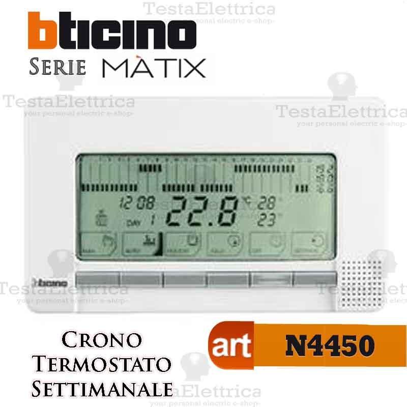 Cronotermostato da parete settimanale n4450 bticino for Cronotermostato bticino nt4451