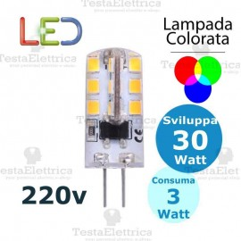 Lampada led Colorata G4 220V 3W Dgk