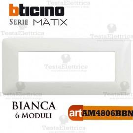 Placca 6 moduli Bianca Bticino Màtix