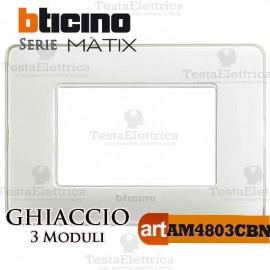 Placca 3 moduli Ghiaccio Bticino Màtix