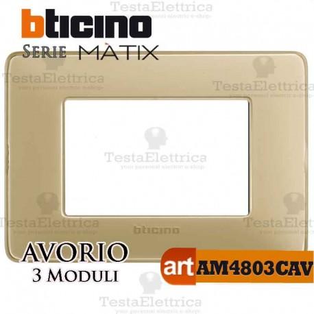 Placca 3 moduli Avorio Bticino Matix