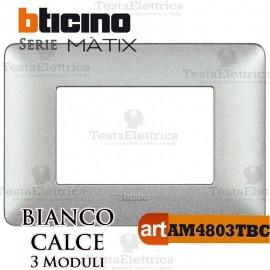 Placca 3 moduli Bianco Calce Bticino Matix