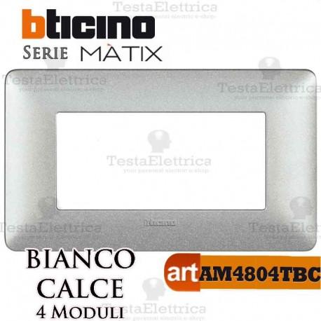 Placca 4 moduli Bianco Calce Bticino Matix