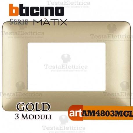 Placca 3 moduli Gold  Bticino Matix