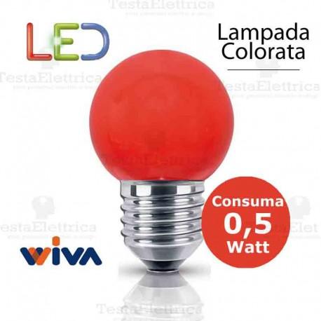 Lampadina a led colorata 0,5 watt E27 Rossa