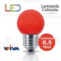 Lampadina a led colorata 0,5 watt E27 Rossa Wiva