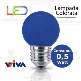 Lampadina a led colorata 0,5 watt E27 Blu