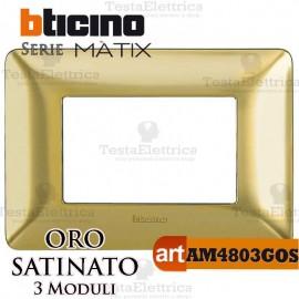 Placca 3 moduli Oro Satinato Bticino Matix