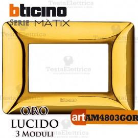 Placca 3 moduli Oro Lucido Bticino Matix