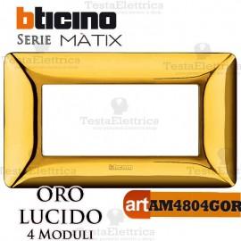 Placca  4 moduli Oro Satinato Bticino Matix
