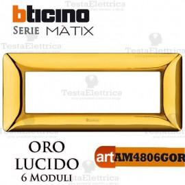 Placca 6 moduli Oro Lucido Bticino Matix