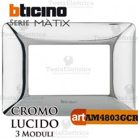 Placca 3 moduli Cromo Lucido Bticino Matix