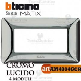 Placca  4 moduli Cromo Lucido Bticino Matix