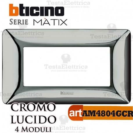 Placca  4 moduli Cromo Satinato Bticino Matix
