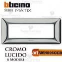 Placca 6 moduli Cromo Lucido Bticino Matix