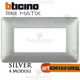Placca  4 moduli Silver Bticino Matix