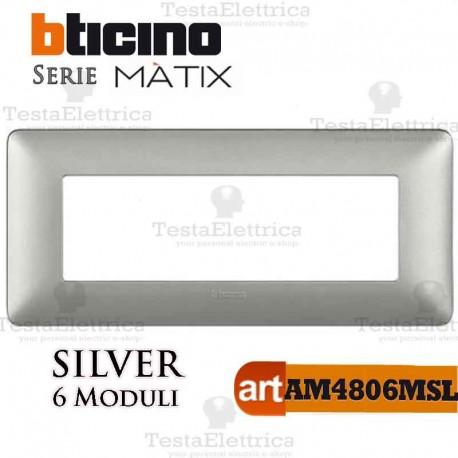 Placca 6 moduli Silver Bticino Matix