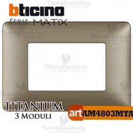 Placca 3 moduli Titanium Bticino Matix