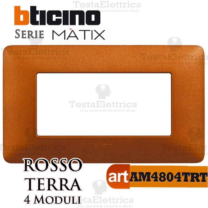 BTICINO AM4804TRT PLACCA 4 POSTI ROSSO TERRA
