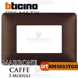 Placca 3 moduli Marrone Caffè Bticino Matix