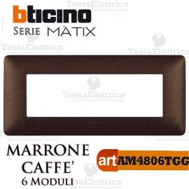 Placca 6 moduli marrone caffe Bticino Matix
