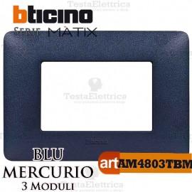 Placca 3 moduli blu mercurio Bticino Matix