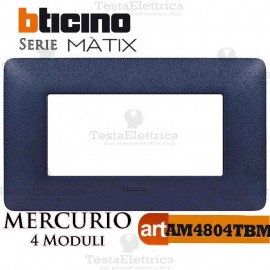 Placca  4 moduli blu mercurio Bticino Matix